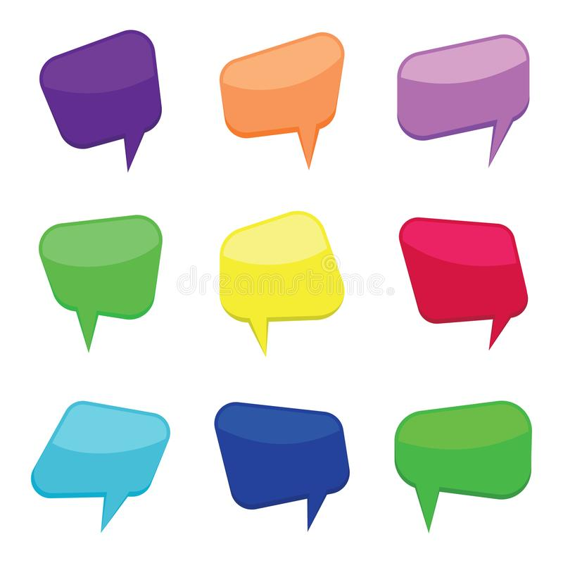 Set of nine colorful cartoon comic balloons speech bubbles. Without phrases and with shadow. Vector illustration stock illustration