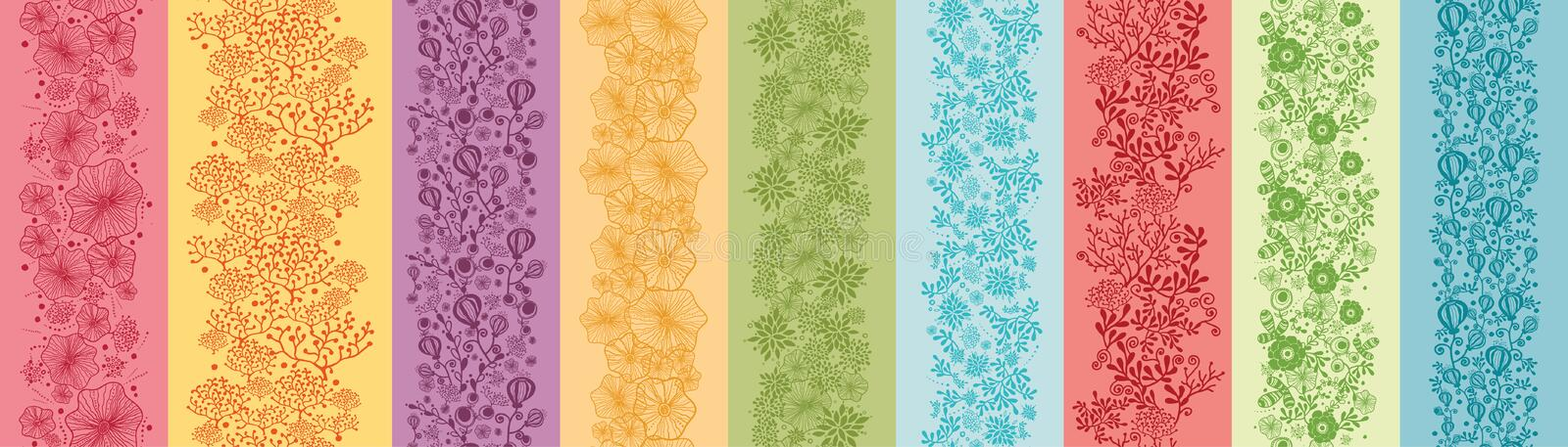Set Of Nine Colorful Flowers Vertical Seamless vector illustration