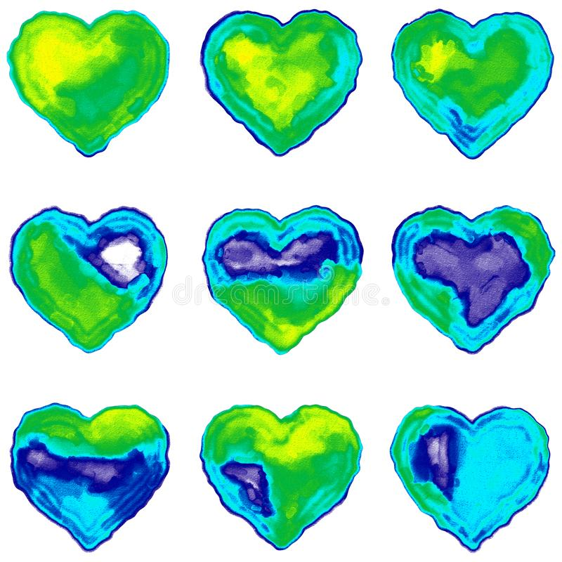 Nine Colorful Hearts Simulating Watercolor on Paper royalty free stock photography