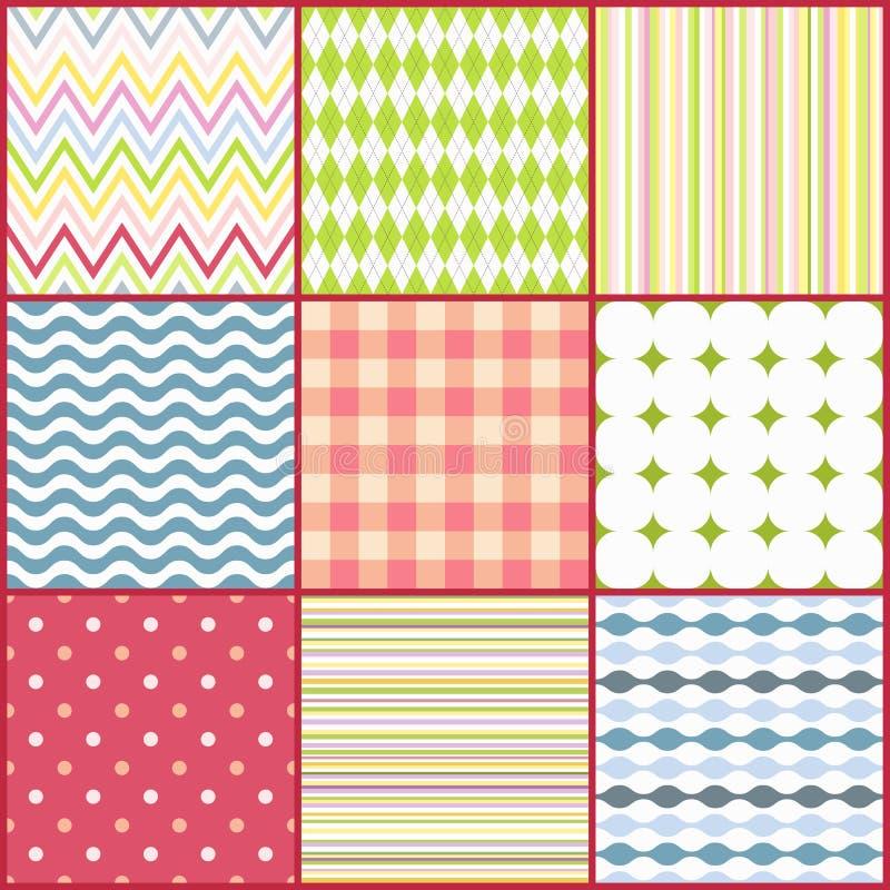 Set of nine colorful seamless patterns stock illustration