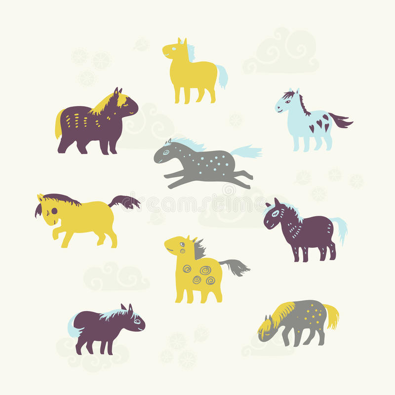 Set of nine cute horses. royalty free stock images