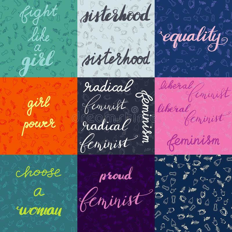 Set of nine different feminist lettering with background and a seamless pattern stock illustration