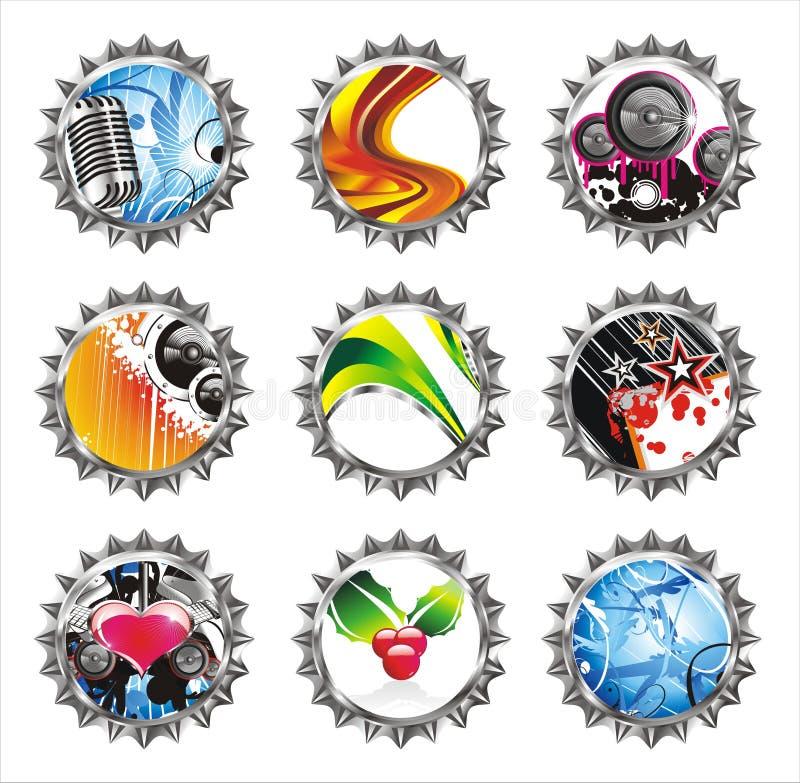 Download Set Of Nine Fantasy Bottle Caps Stock Vector - Image: 8137351