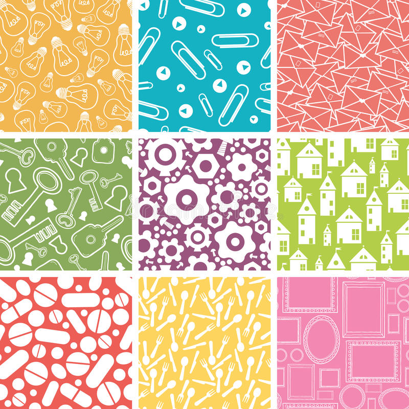 Download Set Of Nine Household Objects Seamless Patterns Stock Vector - Image: 31733993