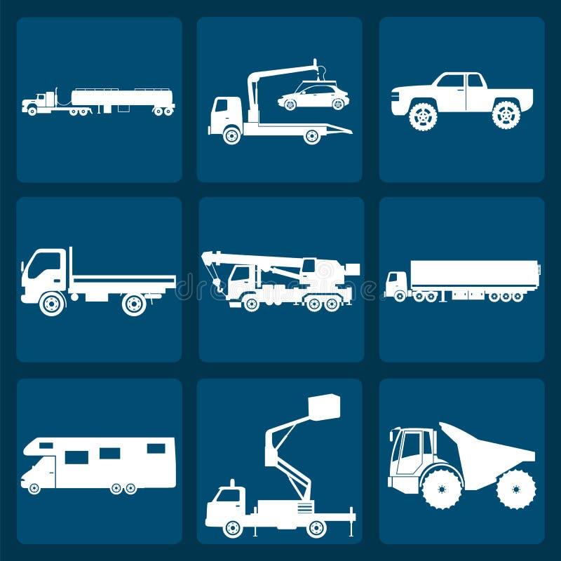 Set of nine icons of trucks. Vector illustration royalty free illustration