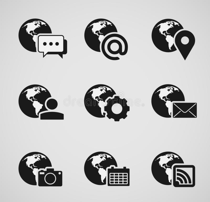 Set of internet related icons with stylized globe royalty free illustration