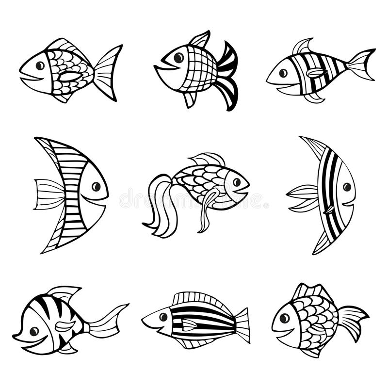 Set of nine isolated hand drawn black outlines fishes on white background. royalty free illustration