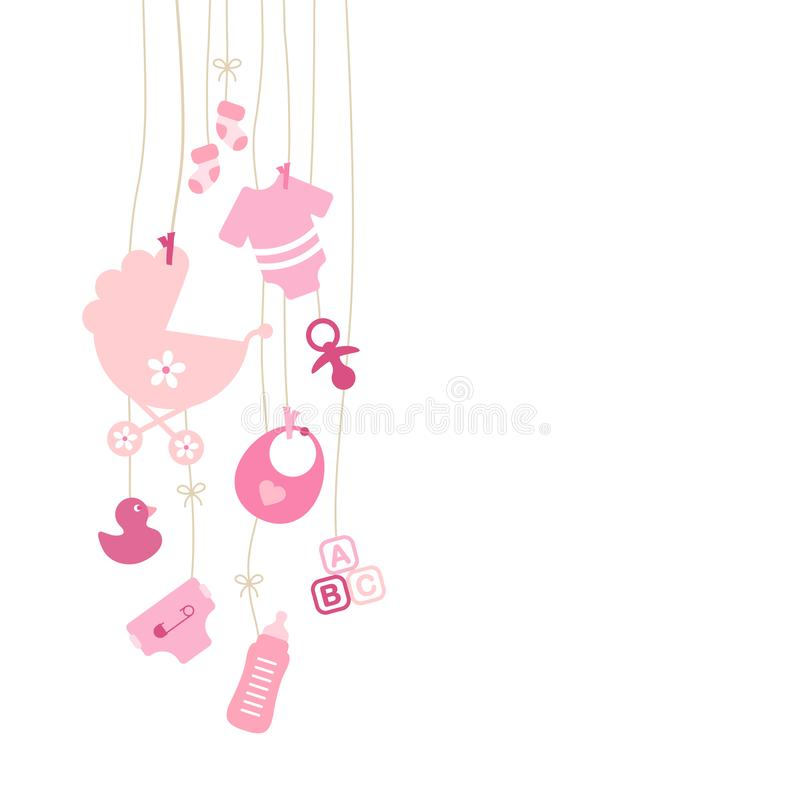 Set Of Nine Left Hanging Baby Icons Girl Pink royalty free illustration