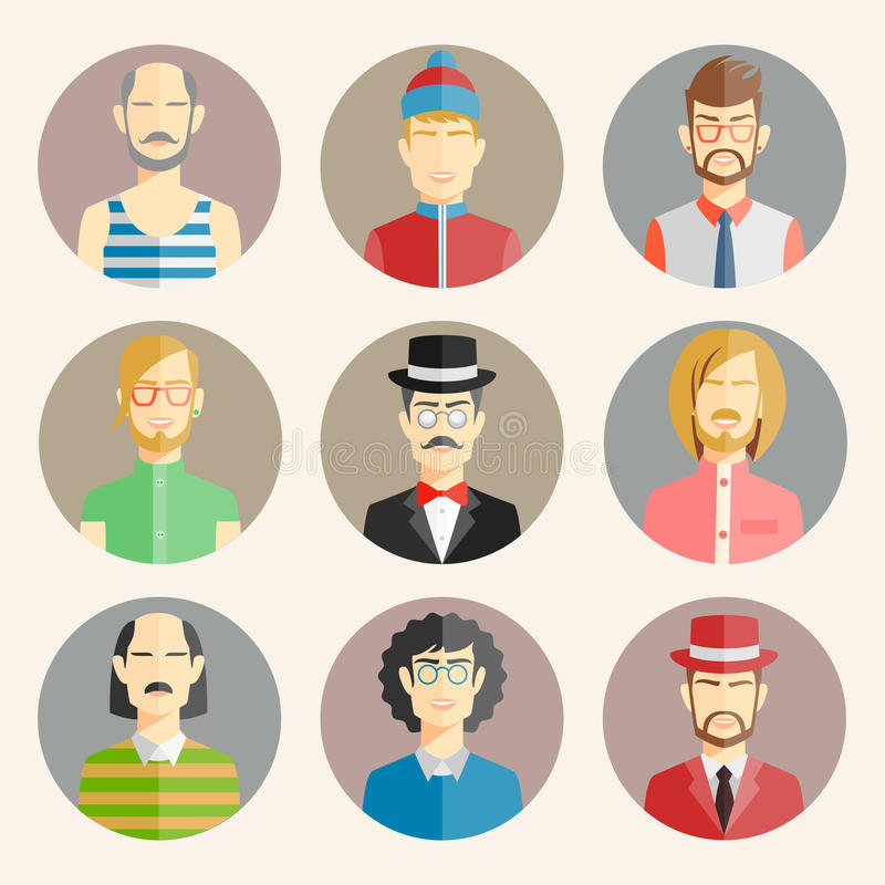 Set of nine male avatars. In flat style showing the colorful heads and shoulders of a diverse collection of men wearing different fashion vector illustration royalty free illustration
