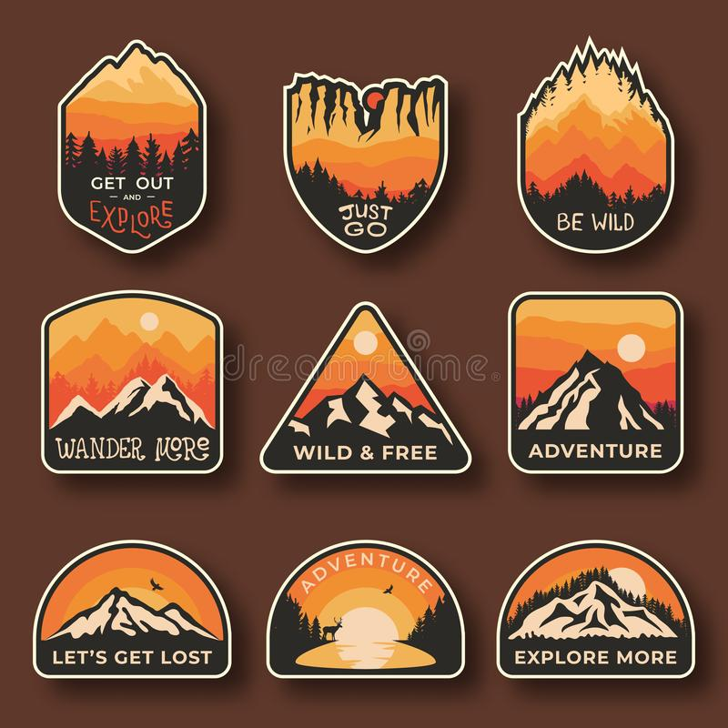 Set of nine mountain travel emblems. Camping outdoor adventure emblems, badges and logo patches. Mountain tourism vector illustration