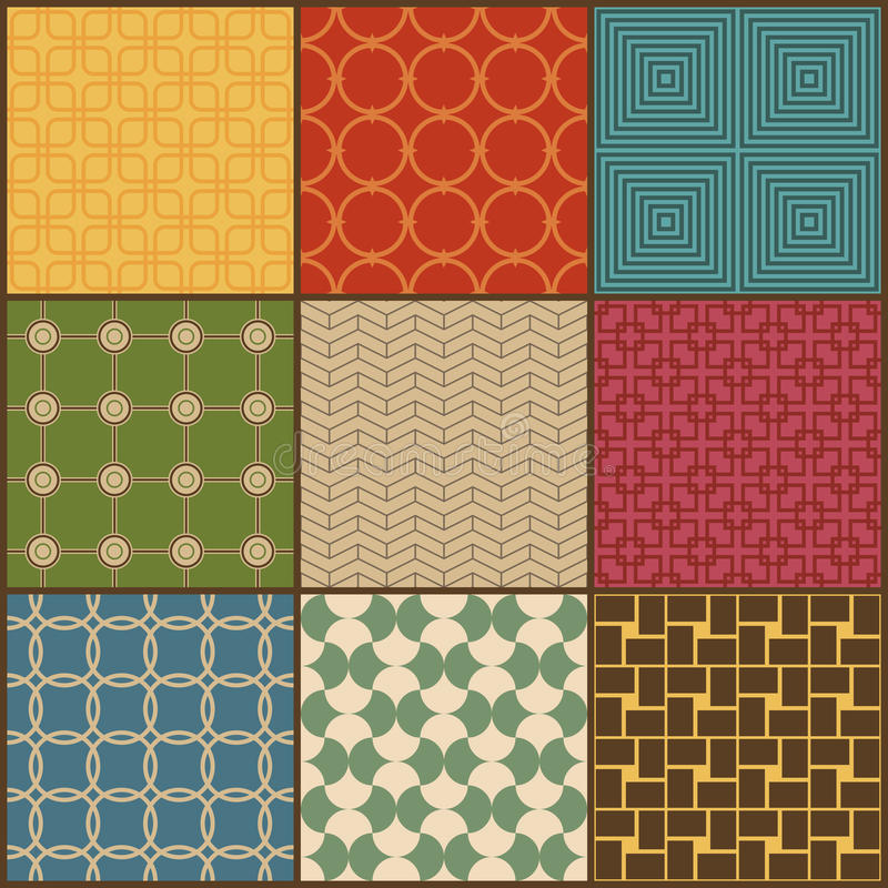 Set of nine retro simple geometric seamless patterns vector illustration