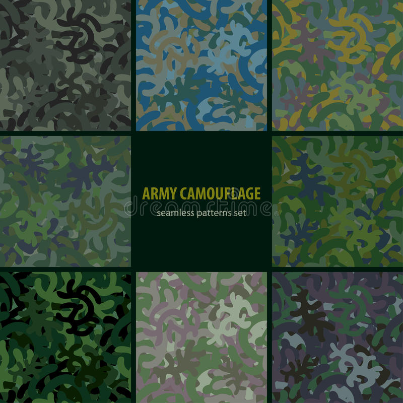 Download Set Of Nine Seamless Camouflage Patterns Stock Vector - Image: 29946633