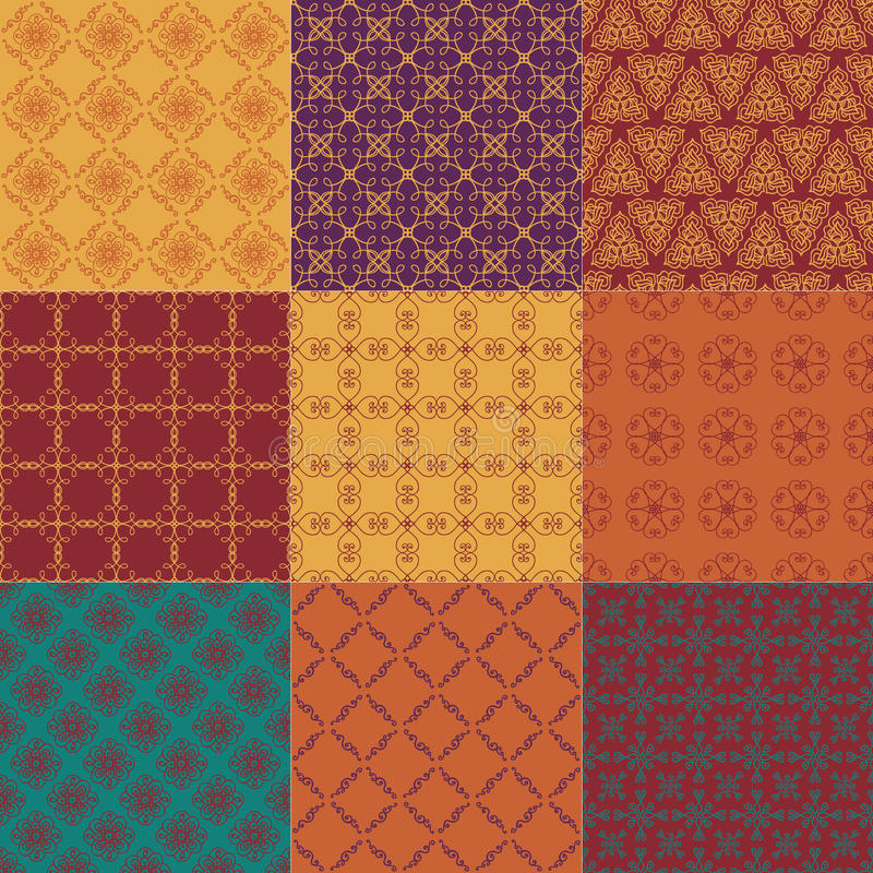 Set of nine seamless patterns vector illustration
