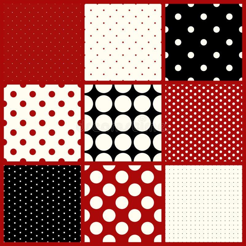 Set of nine seamless polka dots patterns royalty free illustration