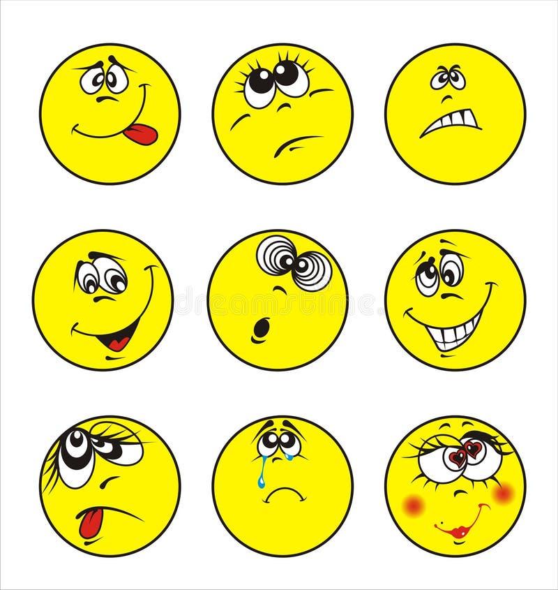 Set of nine smileys stock illustration