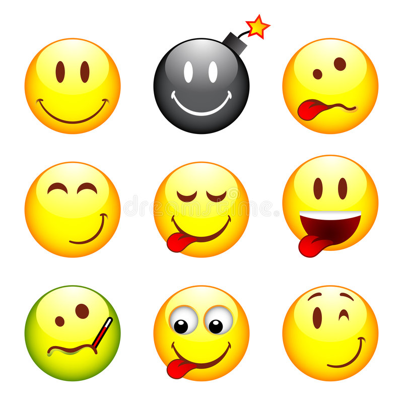 Download Set of nine smileys stock vector. Illustration of clip - 7253070
