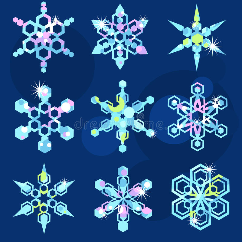 Download Set Of Nine Sparkling Snowflakes Stock Vector - Image: 22084788