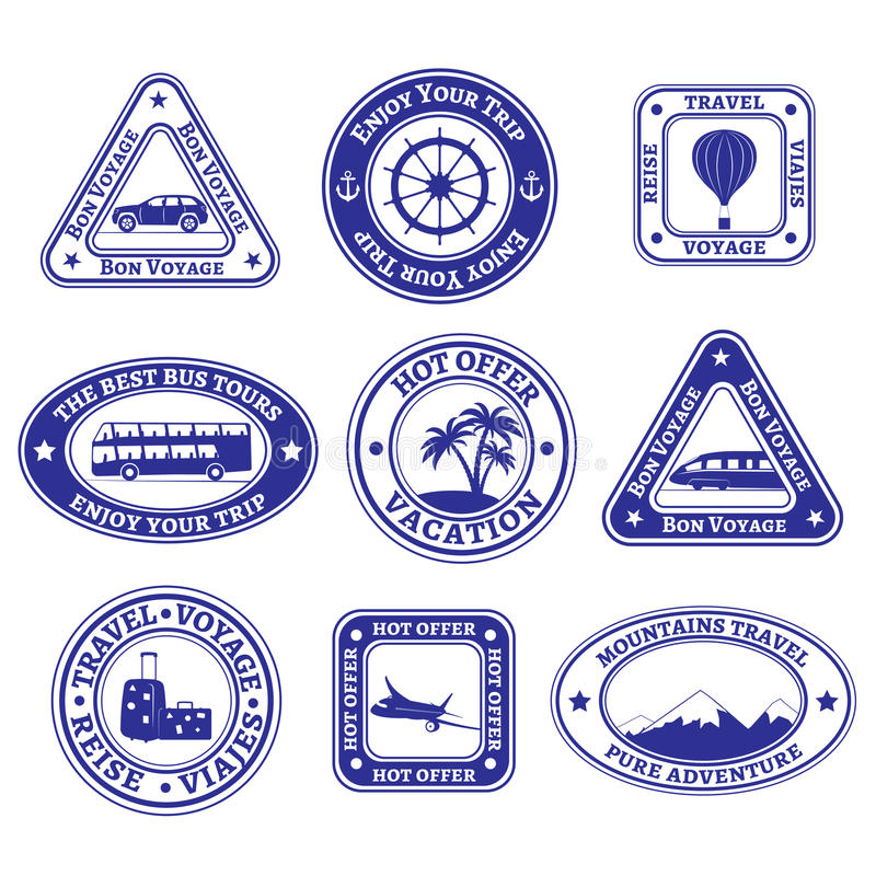 Set of travel and tourism stamps and badges royalty free illustration