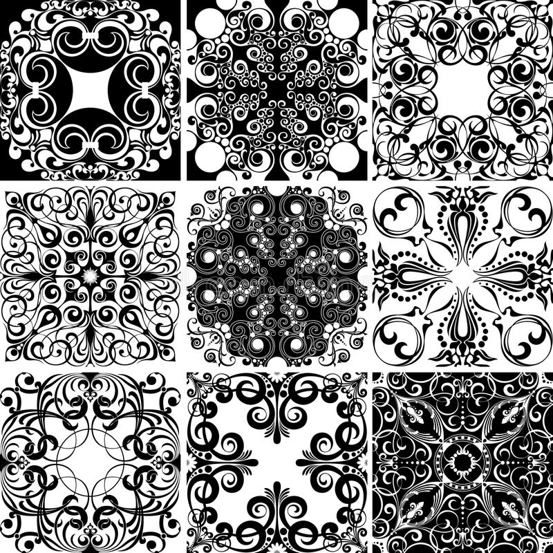 Set of nine textures vector illustration