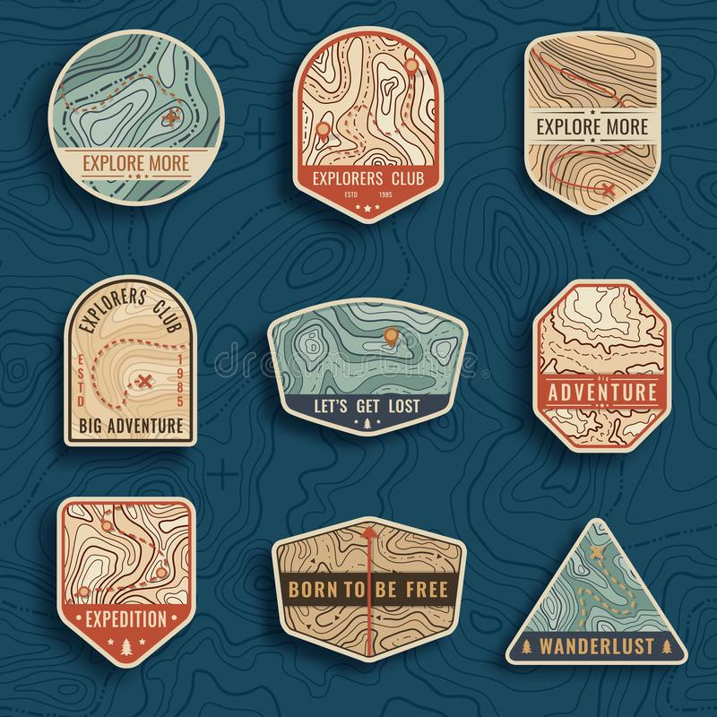 Set of nine topographic map travel emblems. Outdoor adventure emblems, badges and logo patches. Forest camp labels in royalty free illustration