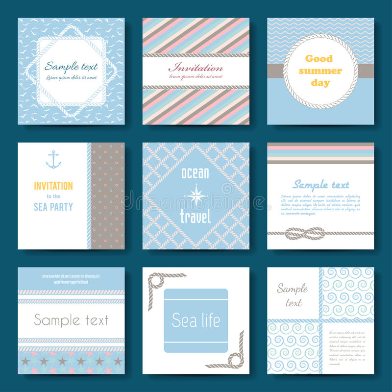 Set of nine vector banner templates in marine style. Elegant invitation card. Celebration design. Graphic patterns. Greeting card. Beach party. Rope borders royalty free illustration