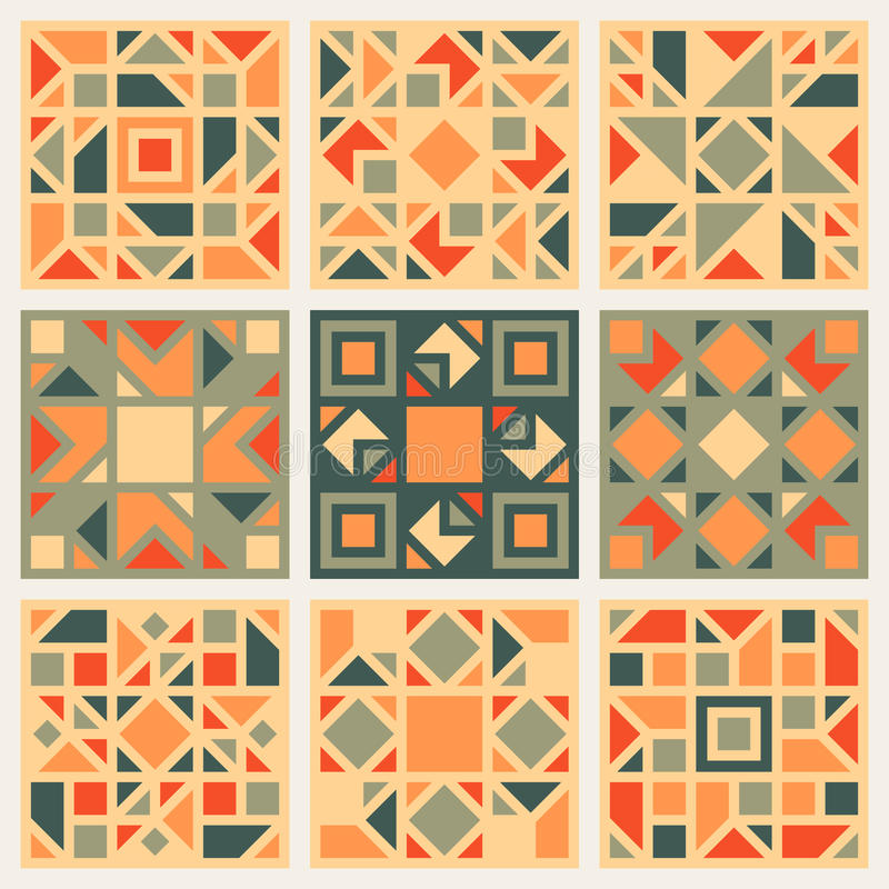 Set of Nine Vector Geometric Square Quilt Retro Pattern Design Element Set in Orange and Green Colors. Abstract Background royalty free illustration