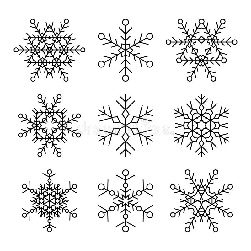 Set of nine vector simple linear snowflakes icons. Hipster black and white design elements. stock illustration
