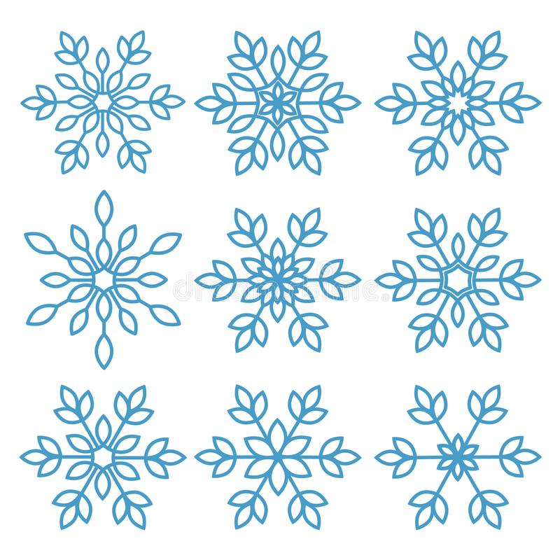 Collection of ice crystal snowflakes. stock illustration