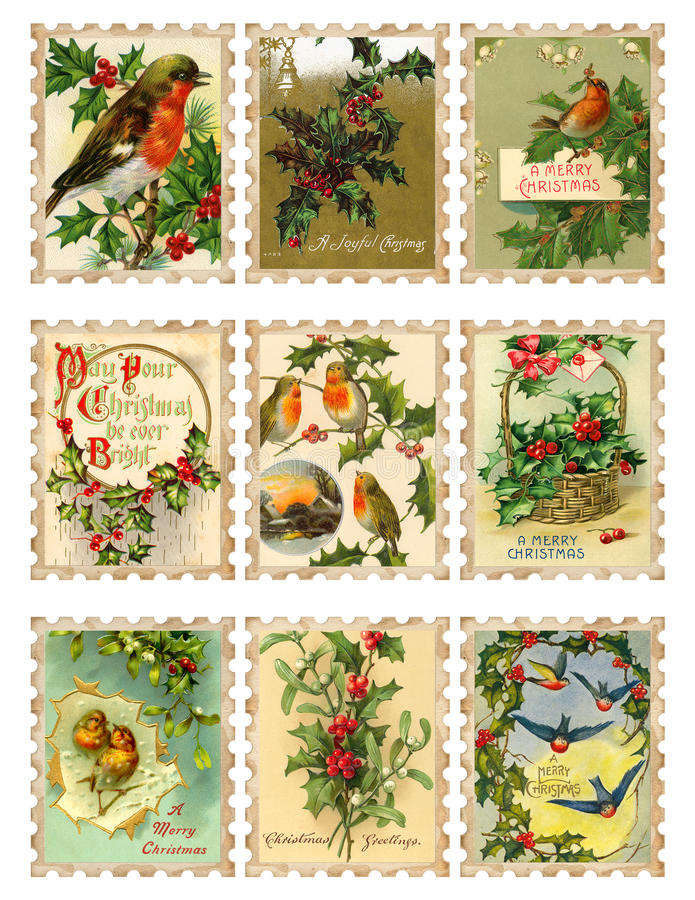Set of nine vintage Christmas bird holly stamps vector illustration