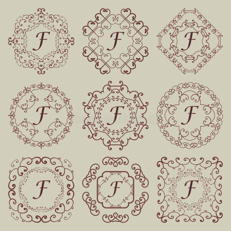 Set of nine vintage monograms. royalty free stock photography