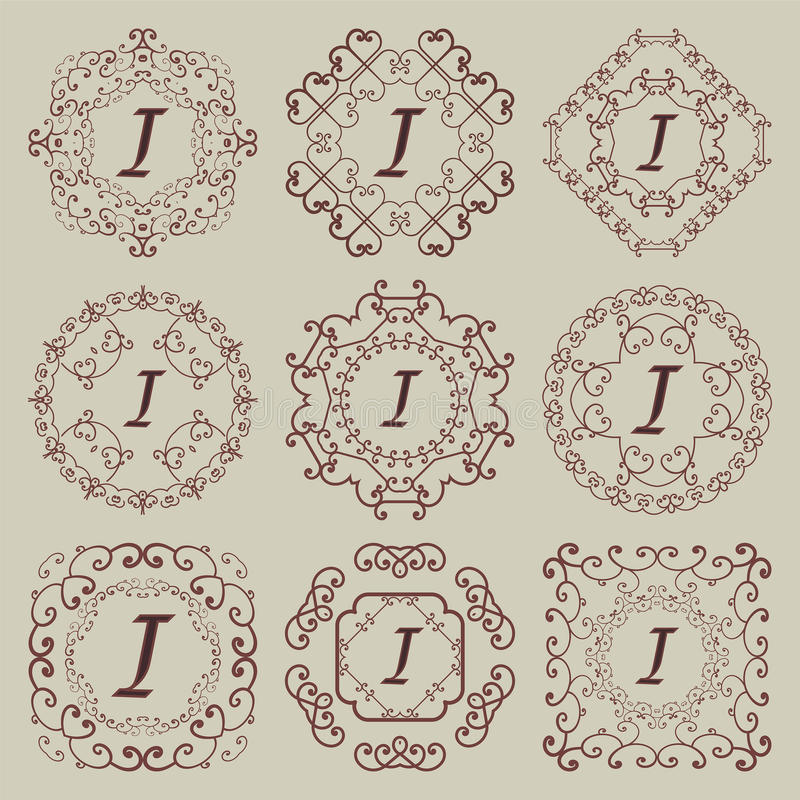 Set of nine vintage monograms. stock photography