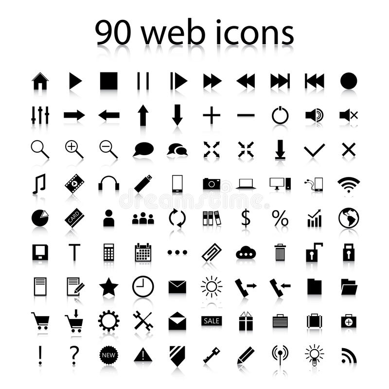Download Set Of Ninety Black Web Icons Stock Vector - Image: 38067085