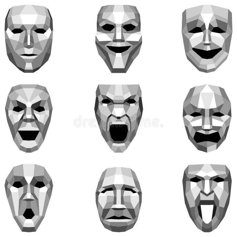 Set Niscy Poli- stylowi emoticons, emoji na białym tle, wektorowa ilustracja royalty ilustracja