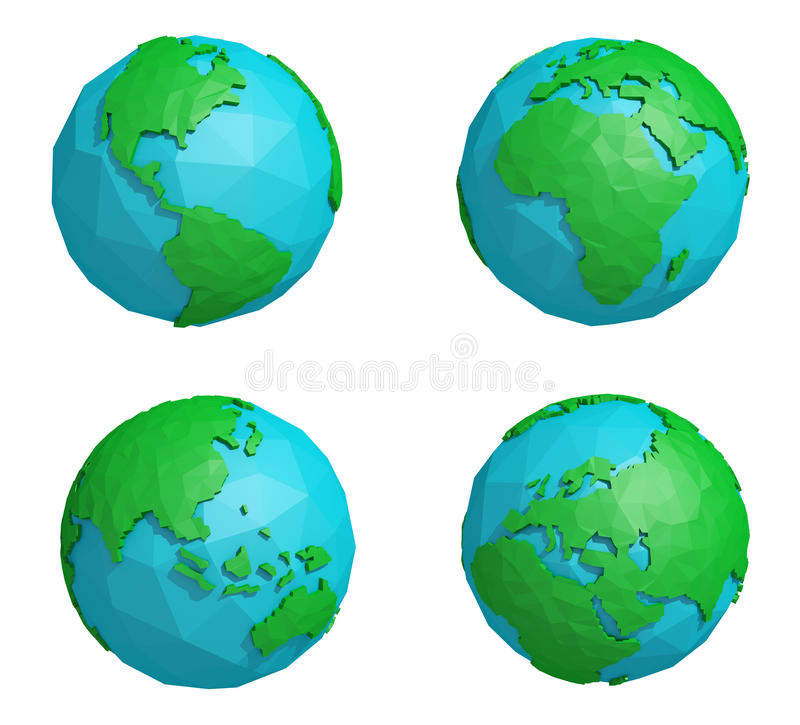 Set niska poli- ziemska planeta z cztery kontynentami, poligonalna kuli ziemskiej ikona obrazy royalty free