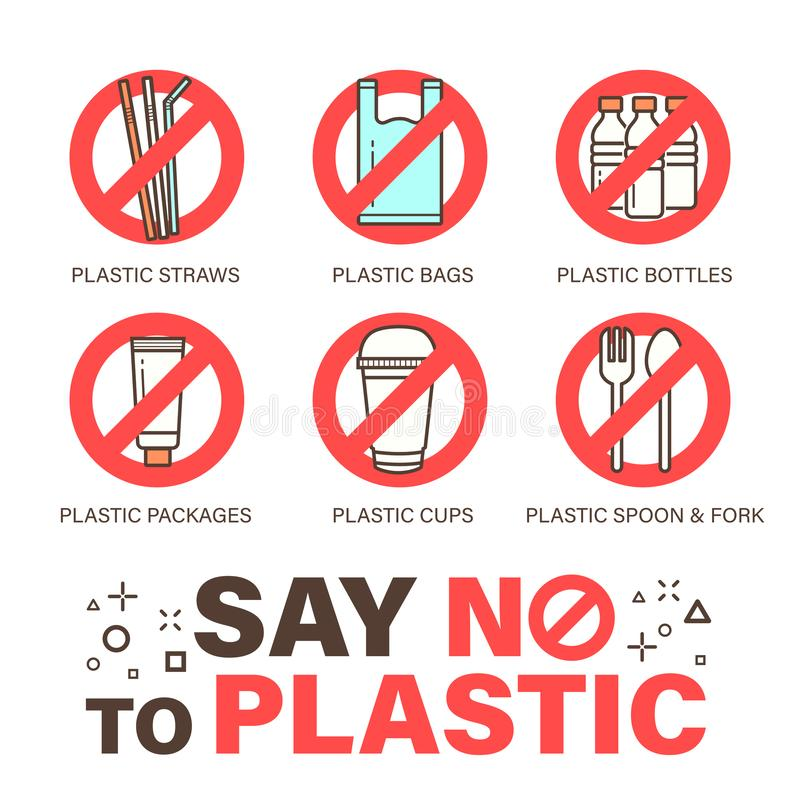Set of no plastics sign. Environmental problem concept. Stroke outline style icon royalty free illustration