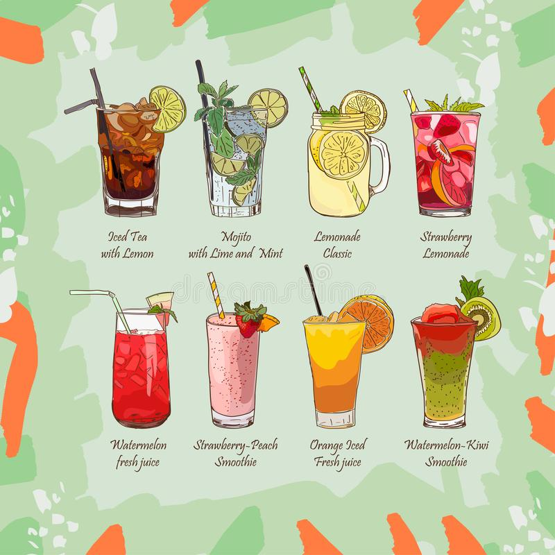 Set of non-alcoholic summer drinks. Classic and Strawberry Lemonade, Iced Tea, Mojito, Watermelon and Orange fresh vector illustration