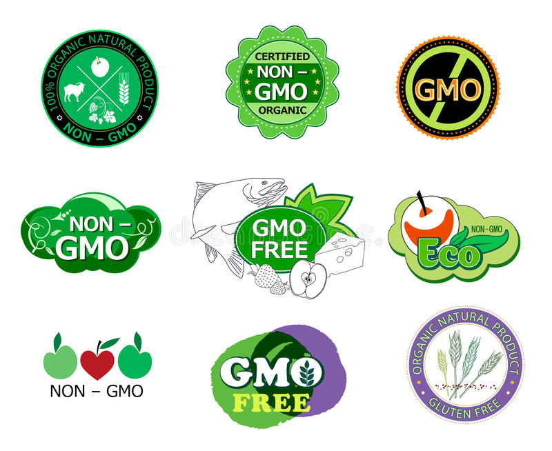 Set Of Non Gmo Icons And Logo Stock Vector Illustration Of