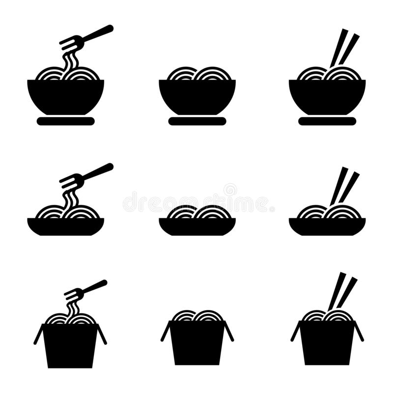 Set of noodle vector illustration with silhouette design isolated on white background stock photography