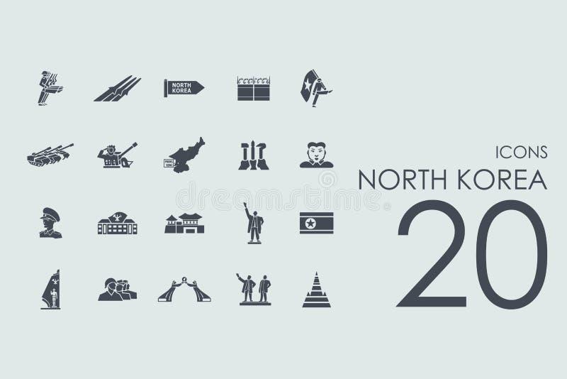 Set of North Korea icons stock illustration