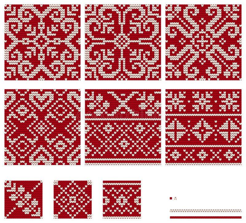 Set Of Norwegian Star Knitting Patterns Stock Illustration