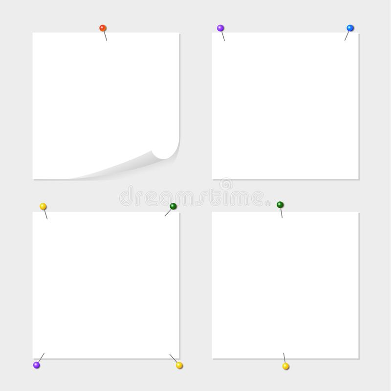 Set of note paper attached by colored pins with space for text or message on grey background. Some variants of blanks. Set of note paper attached by colored royalty free illustration
