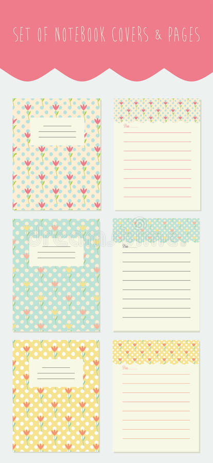 Set of notebook covers and pages with floral background and place for text. royalty free stock photo