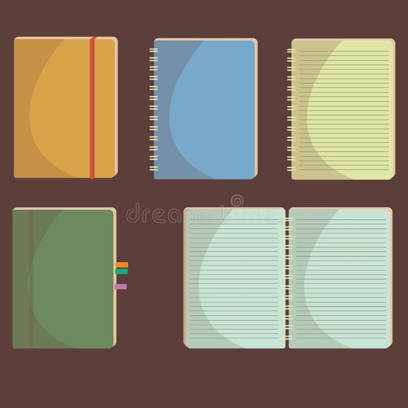 Set of notebooks of different types. A set of notebooks, diaries, notes of different colors, for business and study vector illustration