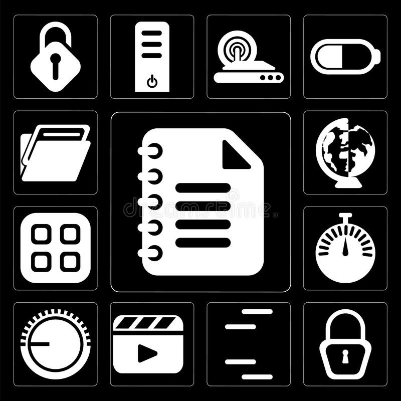 Set of Notepad, Locked, Lines, Video player, Volume control, Stopwatch, Menu, Worldwide, Folder, editable icon pack. Set Of 13 simple editable icons such as vector illustration