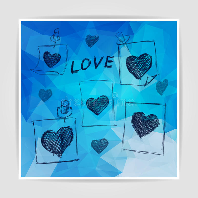 Set of notes with scribbled hearts on the Abstract blue geometric background with triangular polygons vector illustration