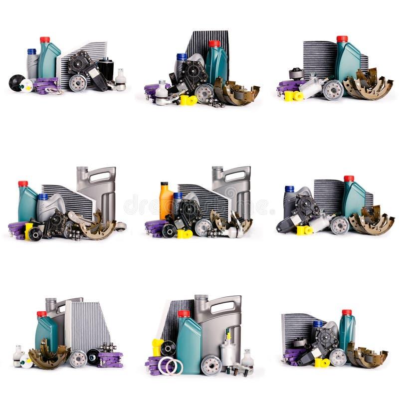 Set nowe Różnorodne samochodowe części konieczne dla pojazd usługi obrazy stock