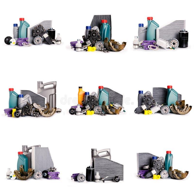 Set nowe Różnorodne samochodowe części konieczne dla pojazd usługi fotografia stock