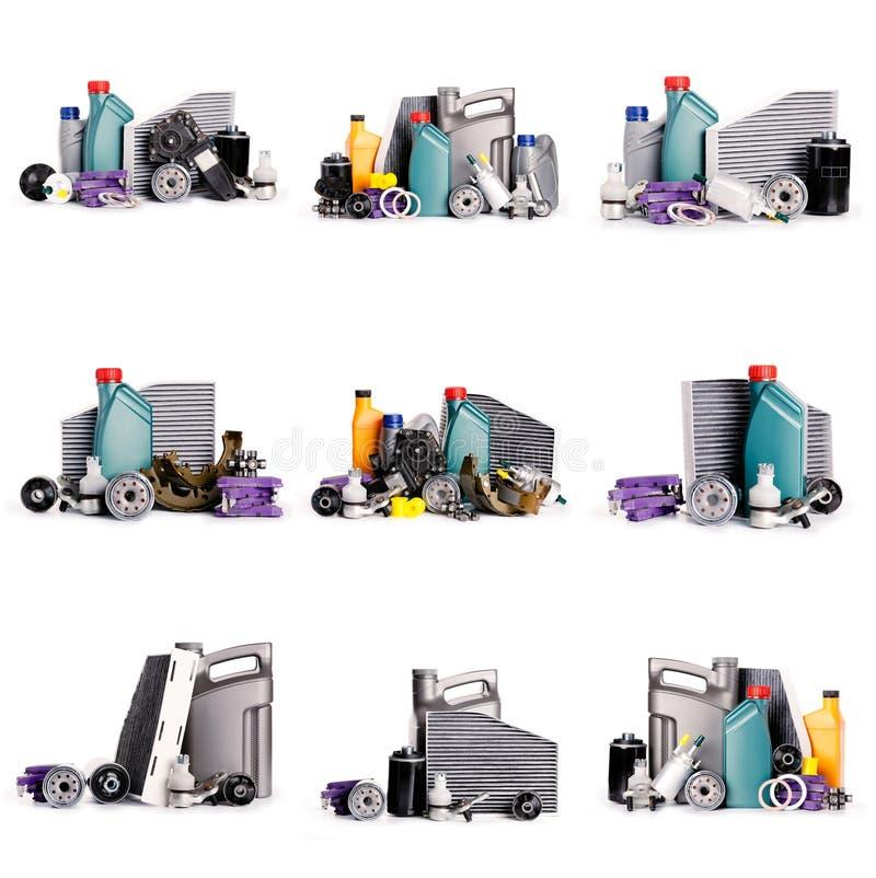 Set nowe Różnorodne samochodowe części konieczne dla pojazd usługi zdjęcia royalty free