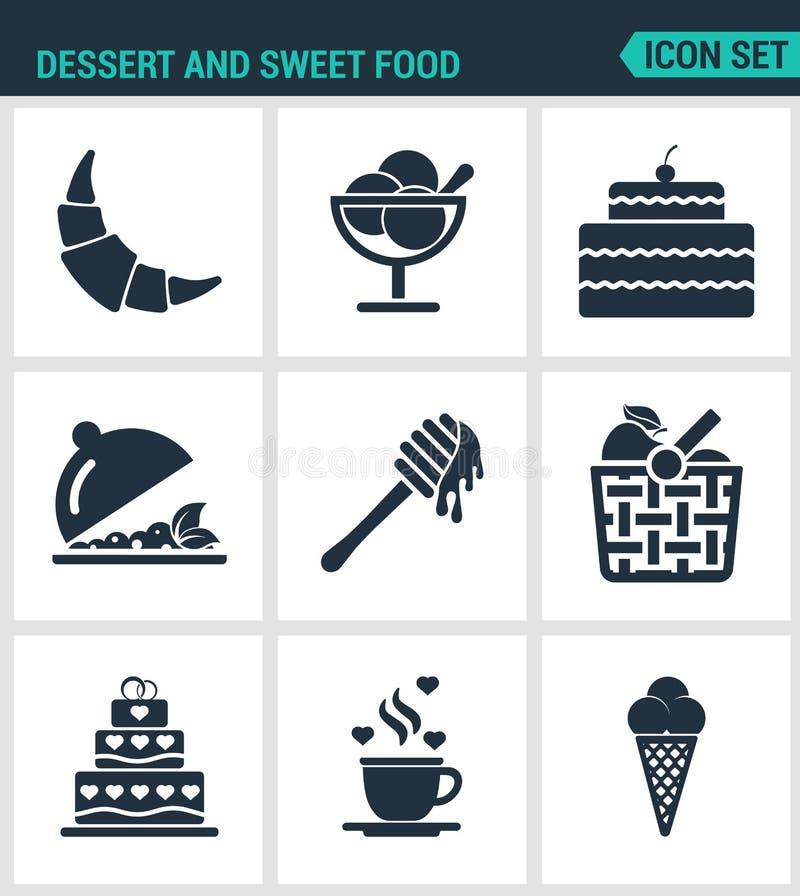 Set nowożytne ikony Deserowy i słodki karmowy croissant, deser, tort, owocowa sałatka, miód, jabłko, kosz, kawa, lody ilustracja wektor