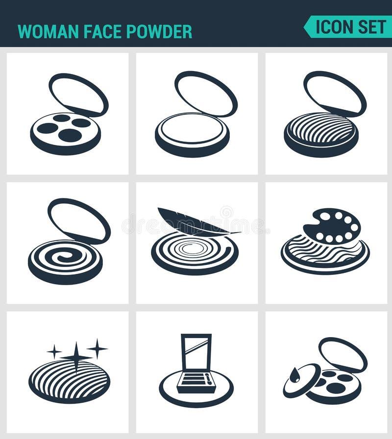 Set nowożytne ikony Kobiety twarzy proszek, siatkowanie, rumieniec, oko cień Czerń znaki na białym tle projekt odizolowywający ilustracji